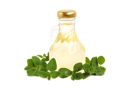 marjoram: Cooking oil and marjoram leaves on white background
