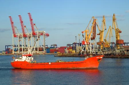 guard ship: Sea fireboat sailing in the port of Odessa, Ukraine.