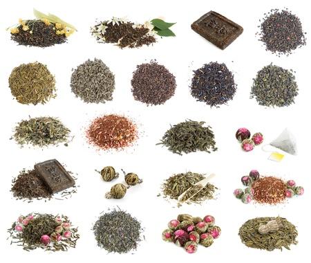 linden tea: Big tea leaves collection on white background