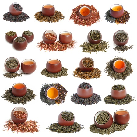Big chinese tea collection on white background
