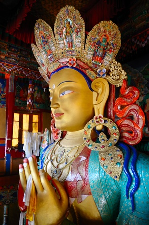 ladakh: Golden Maitreya Buddha in Thiksey Gompa, Ladakh, India Stock Photo