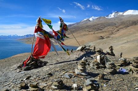 ladakh: Tibetan buddhist prayer flags at lake Tso Moriri in Ladakh, India