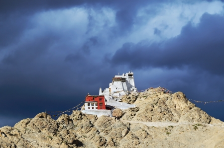 Namgyal Tsemo Gompa, buddhist monastery in Leh at sunset with dramatic sky. Ladakh, India. Stock Photo - 17950318