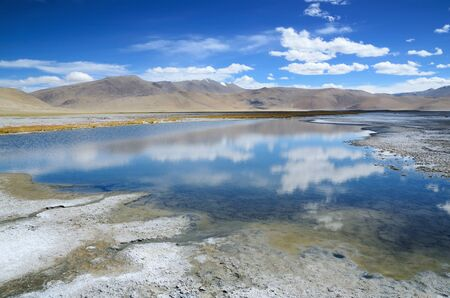 high desert: Salt lake Tso Kar in Himalayas, Ladakh, India, altitude 4530 m Stock Photo