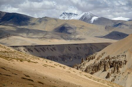 View on a mountain peak in the Himalayas in Ladakh, India photo