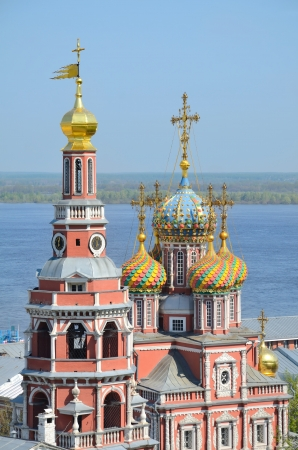 gorky: Volga river and Nativity (Stroganov) church in Nizhny Novgorod, Russia. It was built in 1719 by Grigory Stroganov, one of the supporters of tsar Peter the Great.