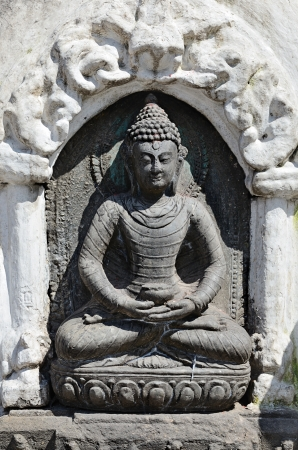 Stone Buddha statue from Swayambhunath Stupa Temple in Kathmandu, Nepal Stock Photo - 20162827