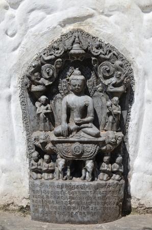 Sitting Buddha statue from Swayambhunath Stupa Temple in Kathmandu, Nepal Stock Photo - 20170645