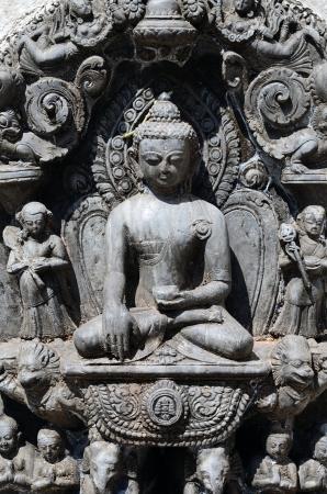 Close-up sitting Buddha statue from Swayambhunath Stupa Temple in Kathmandu, Nepal Stock Photo - 20170476