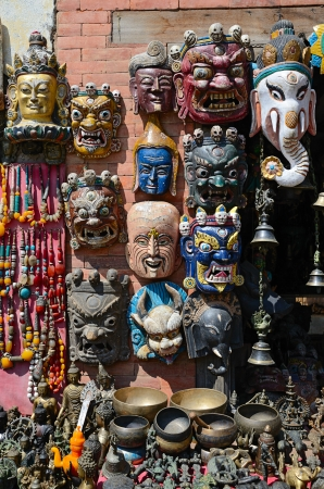 Face masks of Hindu and buddhist gods on market in Kathmandu, Nepal