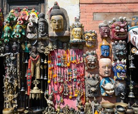 Face Nepali  masks of Hindu gods on market in Kathmandu, Nepal