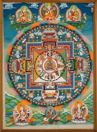 dharma: Wheel of Dharma. Old buddhist fresco at the wall of tibetan monastery
