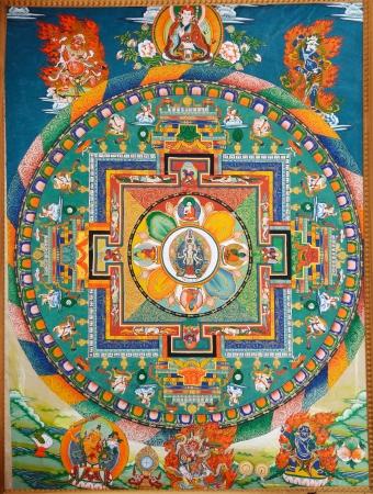 Buddhist Fresko an der Wand des tibetischen Kloster Standard-Bild - 20159623