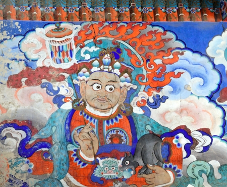 wall paintings: Buddhist fresco at the wall of tibetan monastery Editorial