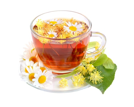 Herbal tea with linden and camomile flowers on white background Stock Photo - 20675686