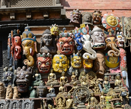 Face Nepali masks of Hindu gods on market in Kathmandu, Nepal photo