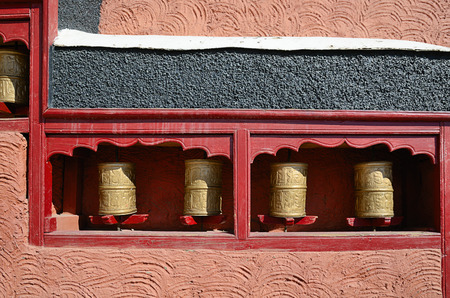 gompa: Tibetan prayer wheels at Thiksey Gompa in India, Ladakh.