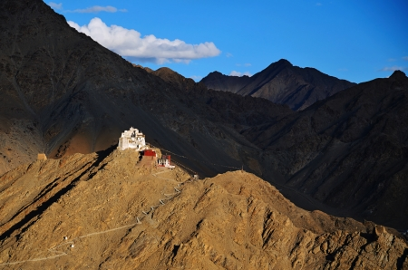 ladakh: Namgyal Tsemo Gompa, buddhist monastery in Leh at sunset with dramatic sky. Ladakh, India.