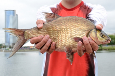 Fisherman with big bream holding in arms photo