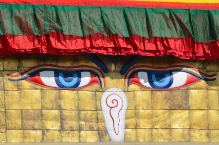 bodnath: Buddha eyes on Boudhanath Stupa in Nepal, Kathmandu, the largest buddhist stupa in the world Stock Photo