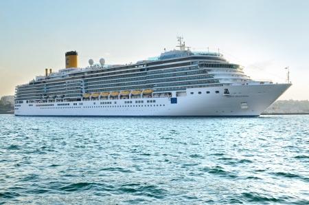 Odessa, Ukraine, August 23, 2013. Cruise ship Costa Deliziosa sailing from Odessa sea port.