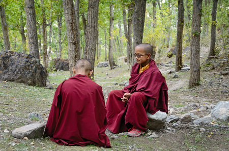 ladakh: Ladakh, India - September, 13, 2012: Two young Buddhist Monks in forest near tibetan monastery Hemis Gompa in Ladakh, India.