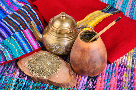 mate drink: �up from calabash and teapot with dry mate leaves.Traditional drink of Peru, Brazil and Argentina.