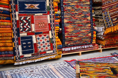 Traditional moroccan carpets in a berber store in Marakesh, Morocco Stock Photo