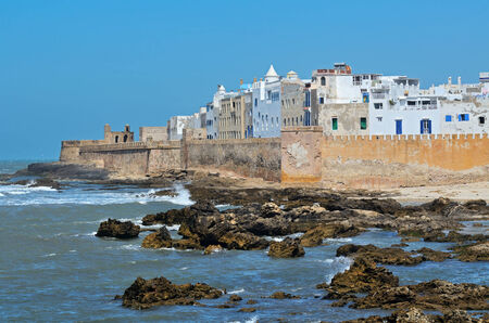 ramparts: View of medina of Essaouira in Morocco on the Atlantic coast, North Africa. Stock Photo