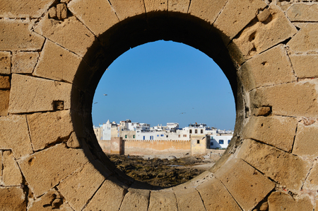ramparts: Old Essaouira and the fortress of Castelo Real of Mogador, Morocco, the Atlantic coast, North Africa Stock Photo