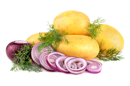 Fresh potatoes with red onion rings and green dill on a white background  photo