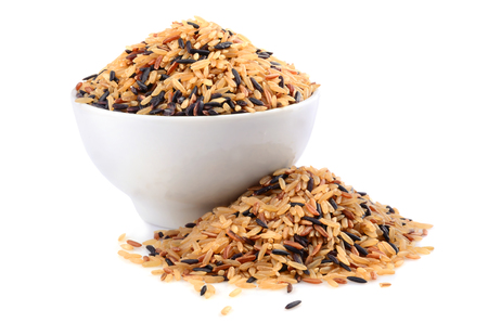 wild rice: Bowl with brown wild rice isolated on white background