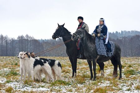 Minsk region, Belarus - November 5: Historical reconstruction of the traditional hunting with russian borzoi dogs. November 5, 2016, Belarus