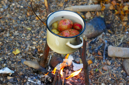 wood burner: The potatoes cooked in a pot on the fire Stock Photo