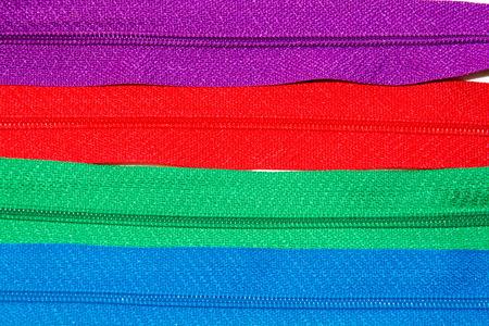 elementos de protección personal: textura de las tiras de cremalleras de colores