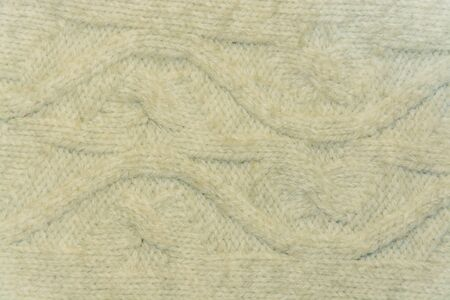 tejido de lana: white woolen fabric closeup with patterns Foto de archivo