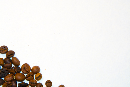 sapid: The roasted coffee grains on a white background for slides