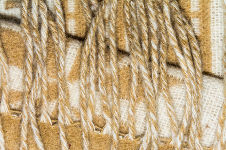 texture twisted: texture of white and brown twisted woolen threads Stock Photo