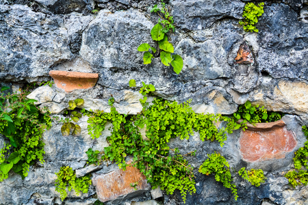 gray-brown background, texture stone masonry