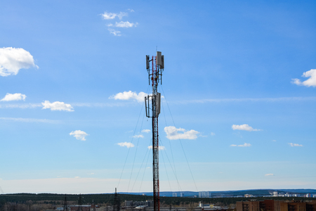 Cell phone tower, Wifi tower, Telecommunication tower in blue sky background.