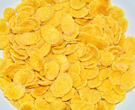 Background of Corn and wheat flakes close-up