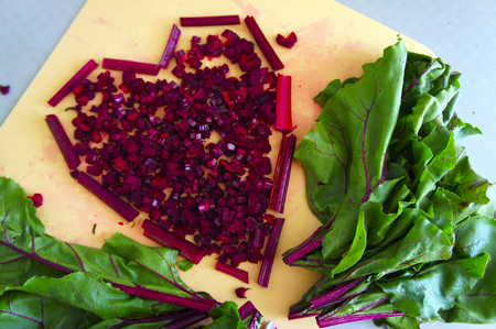 bunch of hearts: Sliced young beet leaves and heart shaped