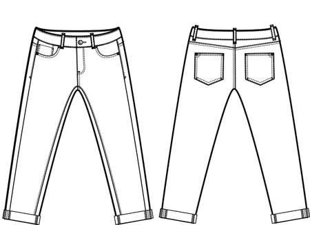 Men denim jeans blank cad