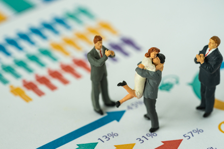 Miniature people with couple standing on printed gender report as couple life style analysis concept.