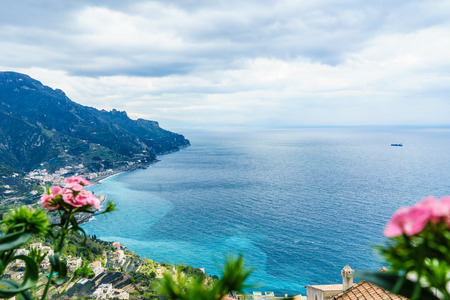 amazing view from Villa Rufolo, Ravello town, Amalfi coast, in the cloudy day southern, Italy. Imagens