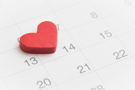 Lovely Red heart on 14th February calender in soft tone using as Valentines day reminder concept.