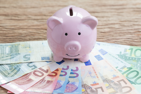 Finance money savings account, Europe economics concept, pink piggy bank on pile of Euro banknotes on wooden table, future growth of compound interest in saving or investing idea. Standard-Bild