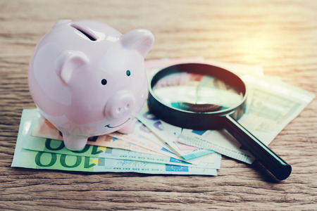 Finance saving, tax, investment or searching for yield concept, pink piggy bank with magnifier glass on pile of Euro banknotes on wooden table, European Union government economics situation. Banco de Imagens