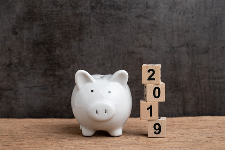 Year 2019 financial target, budget, investment or business goals concept, white piggy bank and stack of cube wooden block building year number 2019 on wood table with dark blackboard background. Stock Photo
