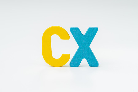 Customer Experience, CX Concept, rating for satisfaction of product and service, colorful word CX with white background, every customers or clients review or feedback. Stock fotó